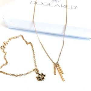 Dogeared necklace and bracelet bundle